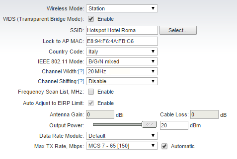 WDS link between the Hotspot Router and an outdoor antenna