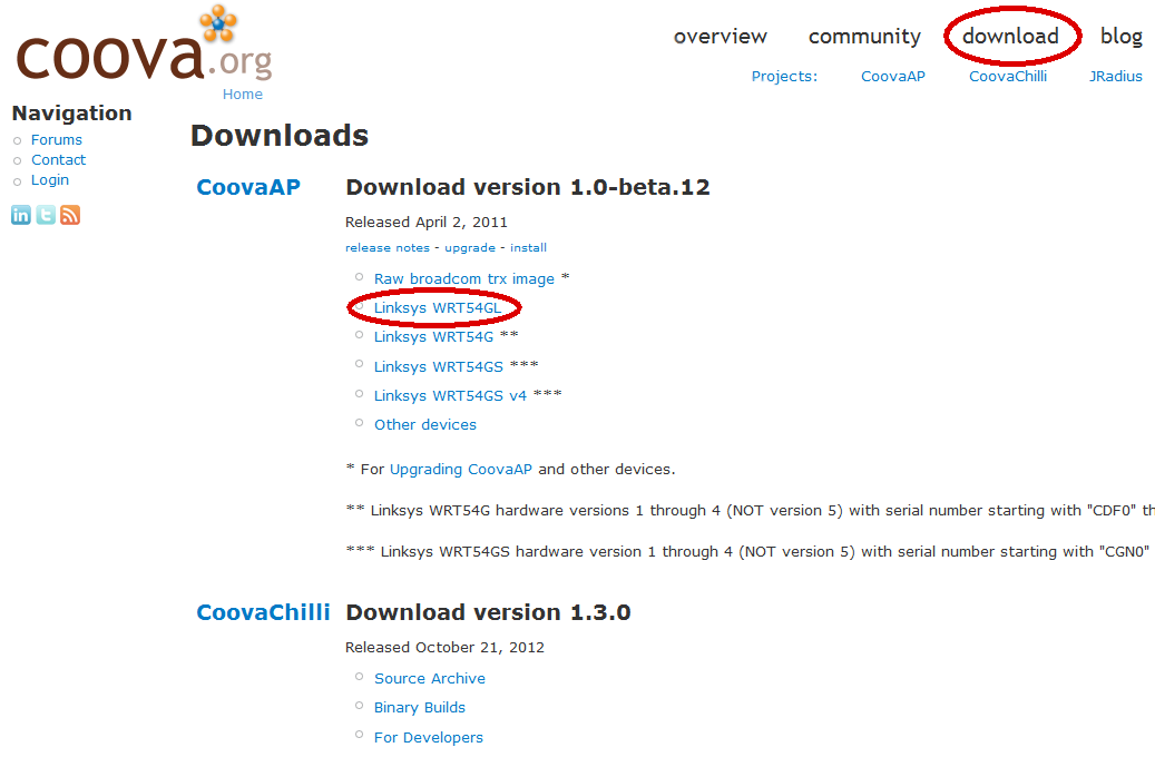 CoovaAP Download for Linksys 54GL