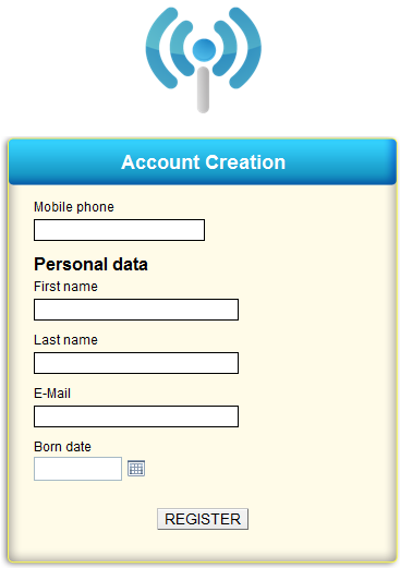 Hotspot user registration via SMS