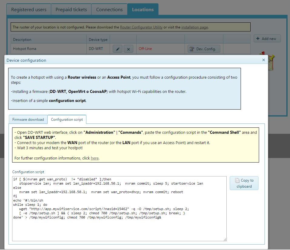 OpenWRT firmware configuration