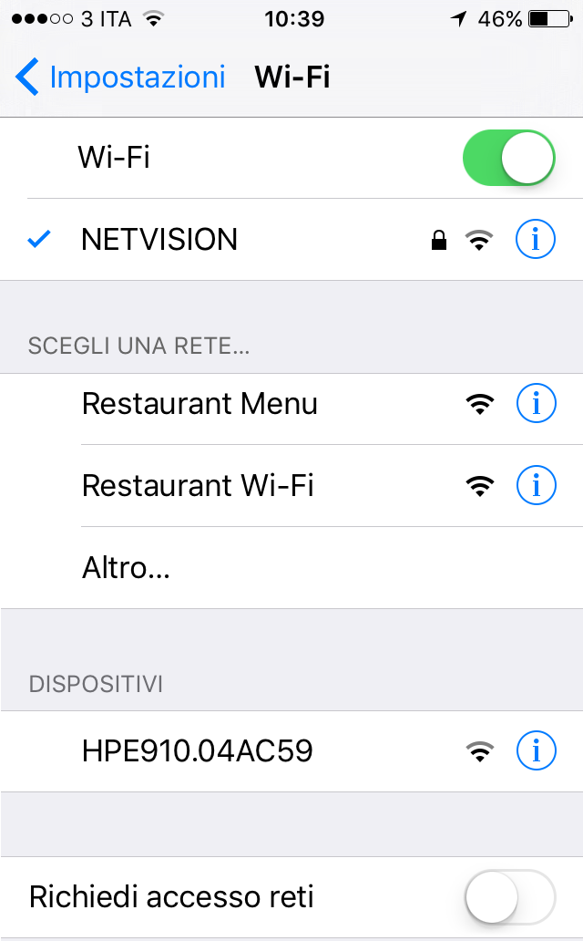 restaurant wifi selection